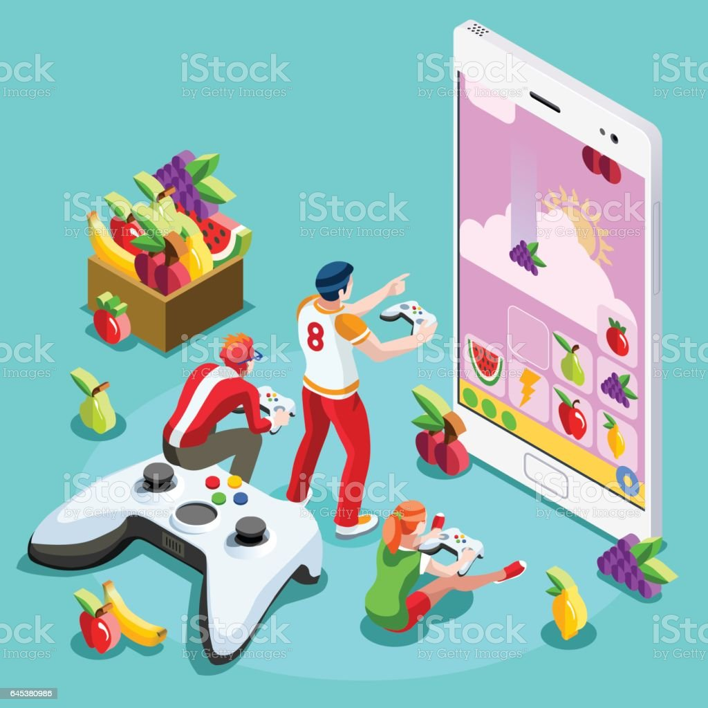 Computer People Video Game Gaming Isometric Vector Illustration vector art illustration