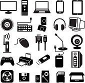 computer peripheral icon, keyboard, monitor, scanner, notebook, cam, printer, Handy Drive, earphone, cd, cpu, telephone, ipad, loudspeaker, games, UPS, mouse, vector set