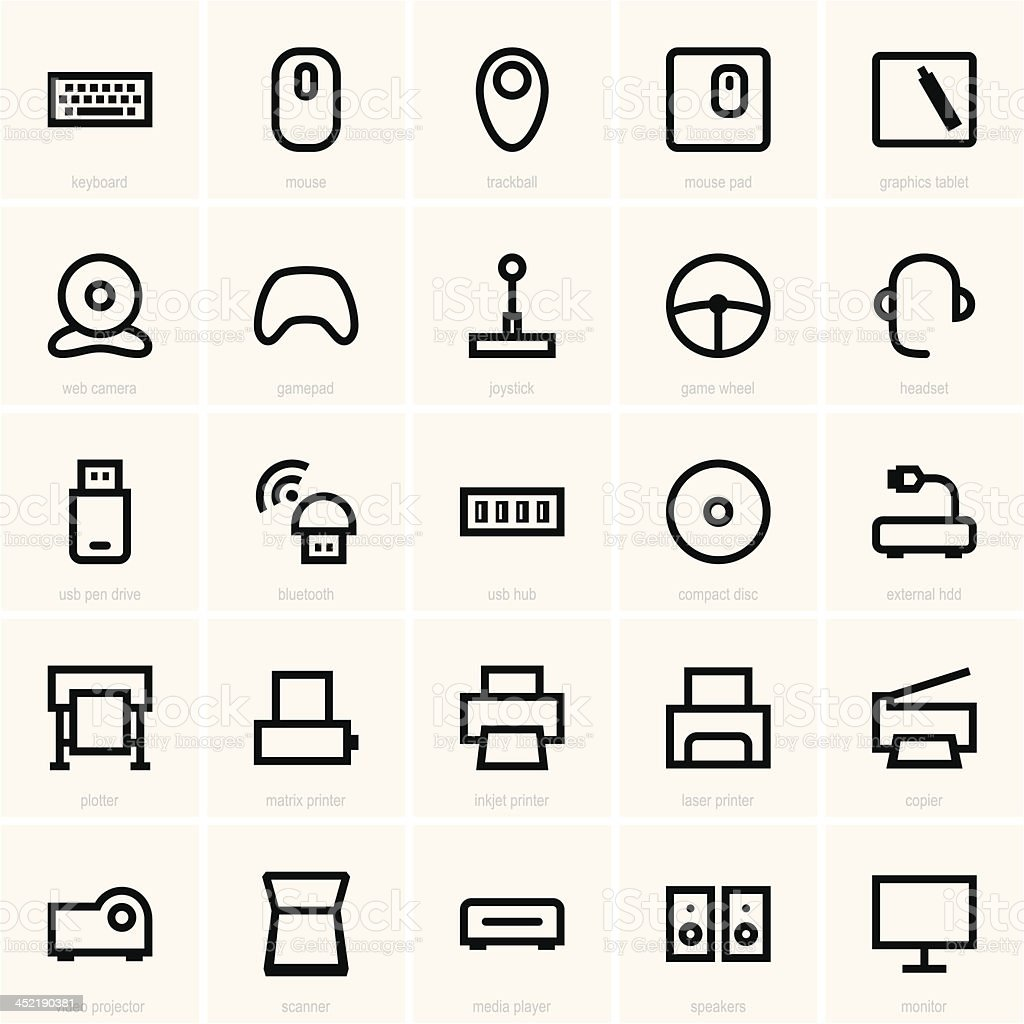Computer peripheral icons vector art illustration