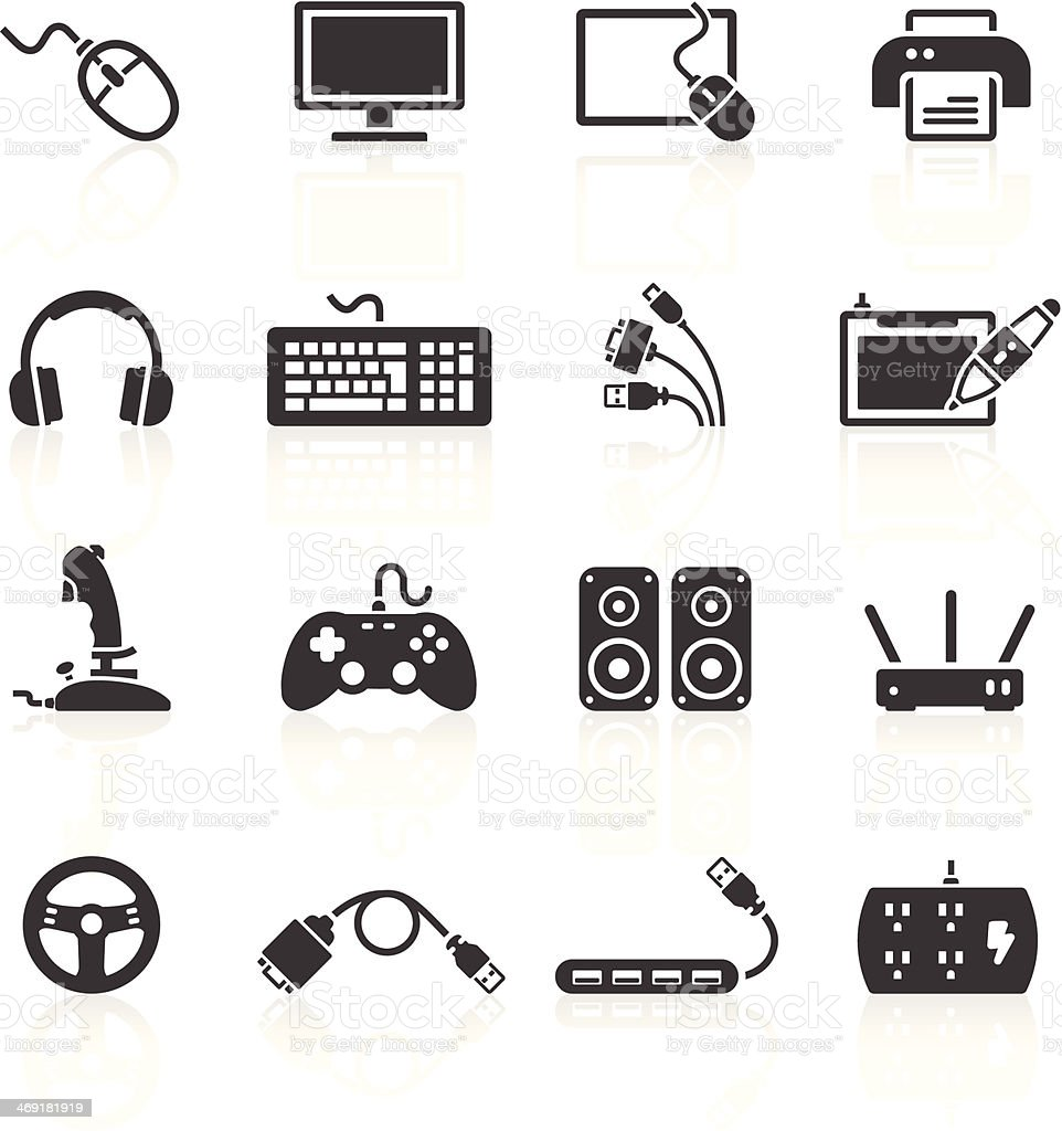 Computer Peripherals Icons vector art illustration