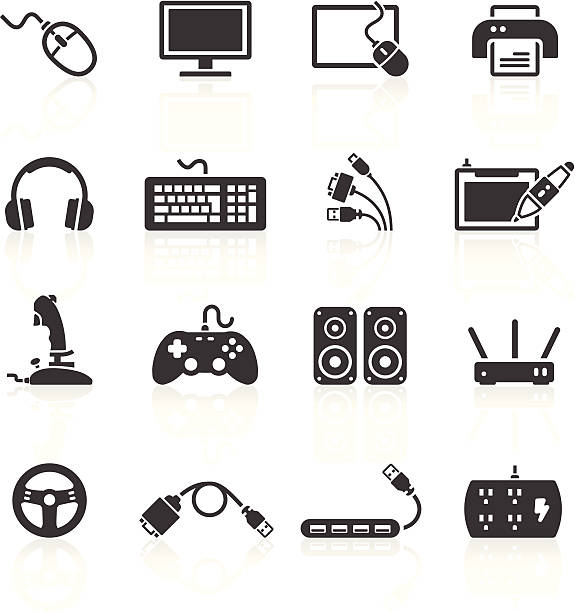 computer peripherals icons - computer keyboard stock illustrations, clip art, cartoons, & icons