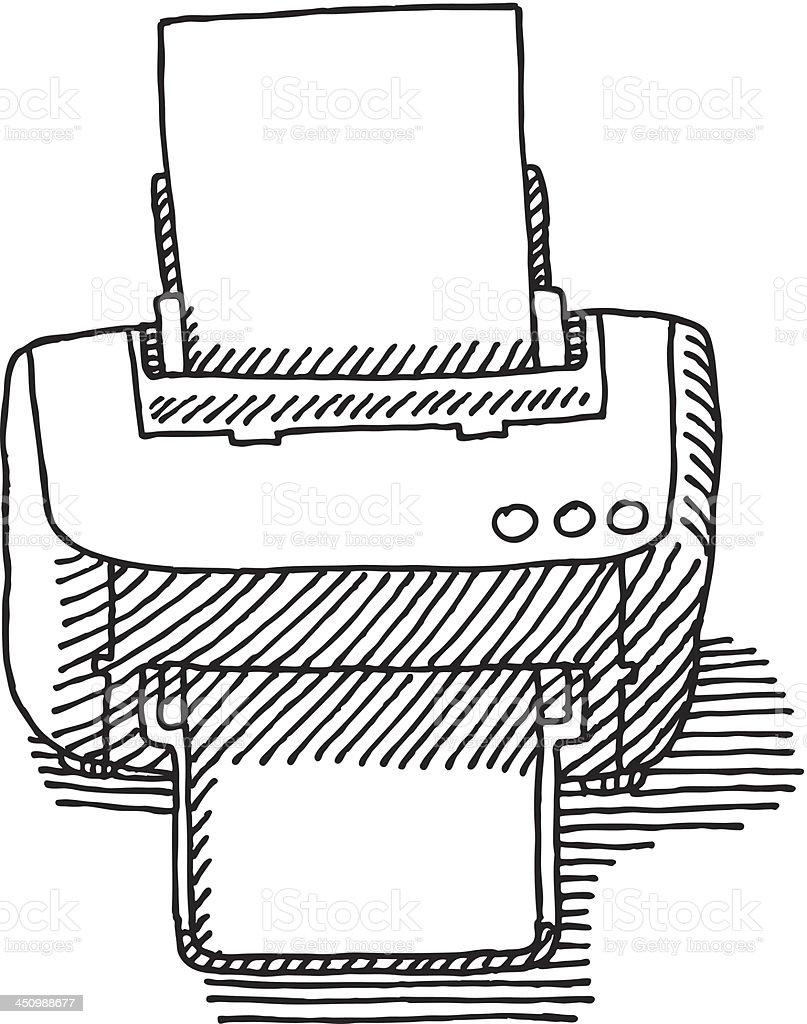Computer Printer Drawing royalty-free stock vector art