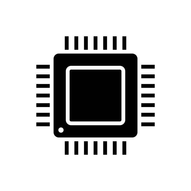 白色背景上的電腦處理器黑色字形圖示向量藝術插圖
