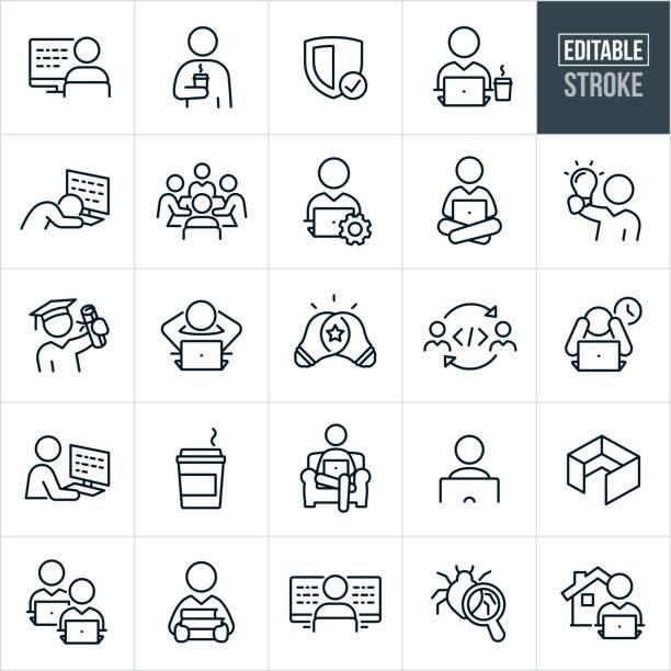 ilustrações, clipart, desenhos animados e ícones de computador programando ícones da linha fina - curso editável - work