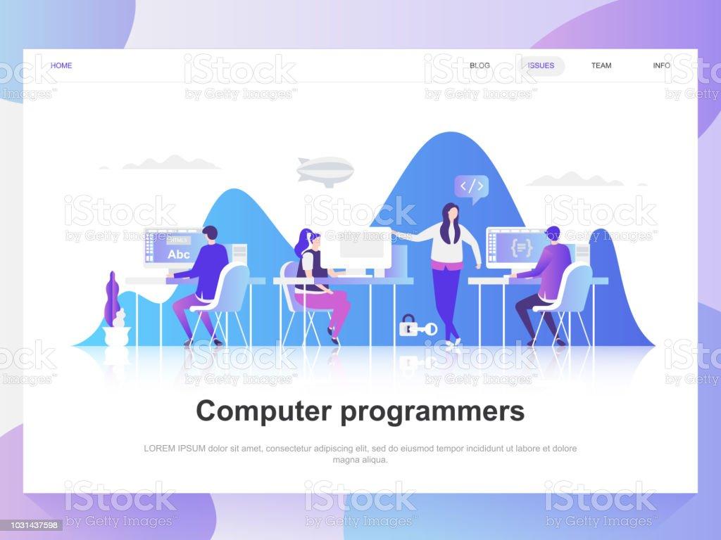 Ilustración de Computadoras Programadores Diseño Plano Moderno ...