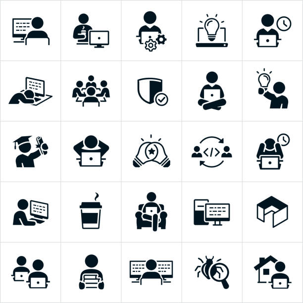 Computer Programming Icons A set of software and computer programming icons. The icons include software developers, software programmers, computer programmers, coders and developers. They include developers and programers working on laptops, on desktops and from remote locations. They include code on computers, working late hours, working overtime, asleep at the computer, holding a college degree, writing code, coffee, an office cubicle, books for study, computer bug and working from home to name just a few. frustration stock illustrations