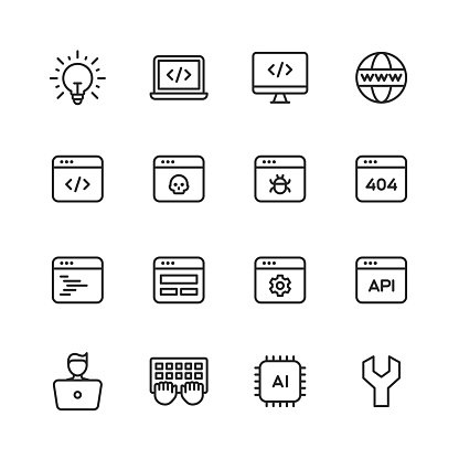 16 Computer Programming Outline Icons. Programming, Computer Language, Software Development, Coding, Debugging, Brainstorming, Idea, Laptop, Desktop, Workplace, Office, Web Browser, Internet, Computer Virus, Error, Computer Bug, Website, Web Development, Webpage, Website not Found, Code, Web Layout, User Interface Programming, Configuration, Machine Learning, Artificial Intelligence, Keyboard, Processor, Development Tools, Database, Agile Development, Hacker, Developer, Coder, Project Management, Chair, Coffee, Cloud Computing, Startup, Diagram, Computer Vision, Java, Sql.