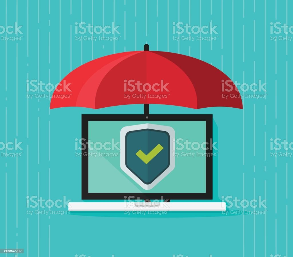 Computer protection concept vector, flat cartoon laptop pc under umbrella and protecting shield on screen, antivirus banner, information safety, digital data privacy, malware security Computer protection concept vector, flat cartoon laptop pc under umbrella and protecting shield on screen, idea of antivirus banner, information safety, digital data privacy, malware security Internet stock vector