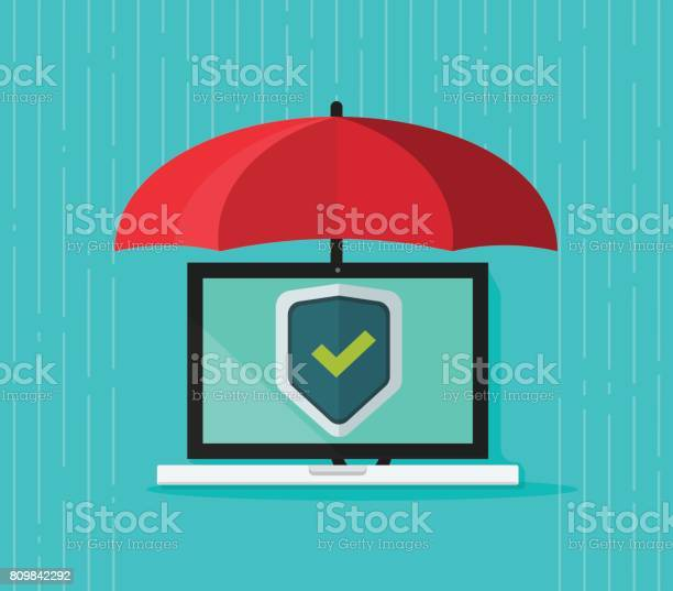 Computer Protection Concept Vector Flat Cartoon Laptop Pc Under Umbrella And Protecting Shield On Screen Antivirus Banner Information Safety Digital Data Privacy Malware Security Stock Illustration - Download Image Now