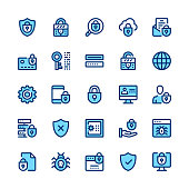 Computer protection, internet security, privacy line icons set. Modern graphic design concepts, simple symbols, linear stroke web elements, pictograms collection. Minimal thin line design. Premium quality. Pixel perfect. Vector outline icons