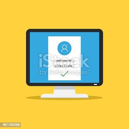 Computer protection. Modern vector illustration