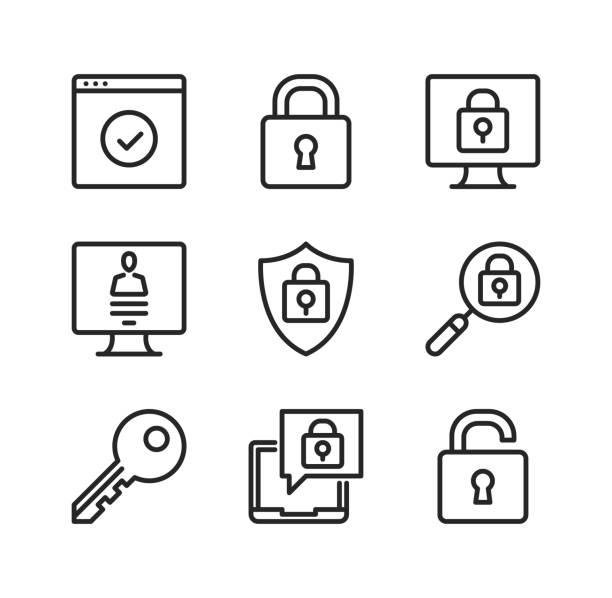 ilustrações, clipart, desenhos animados e ícones de ícones da linha do vetor da proteção de computador. cibersegurança, conceitos de segurança informática. símbolos simples do esboço, coleção linear moderna dos elementos gráficos. qualidade premium. ícones finos da linha do vetor ajustados - chave