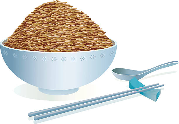 Computer rendering of a bowl of rice and chopsticks vector art illustration