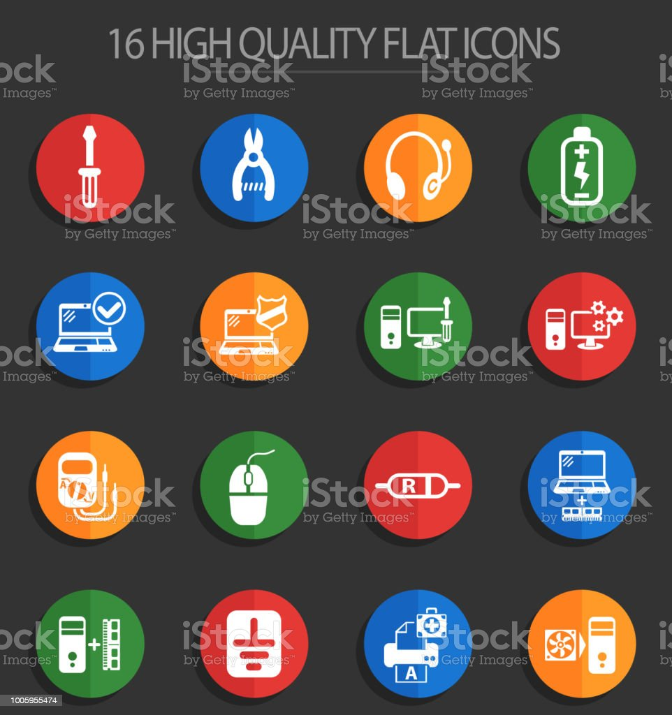 computer repair 16 flat icons vector art illustration