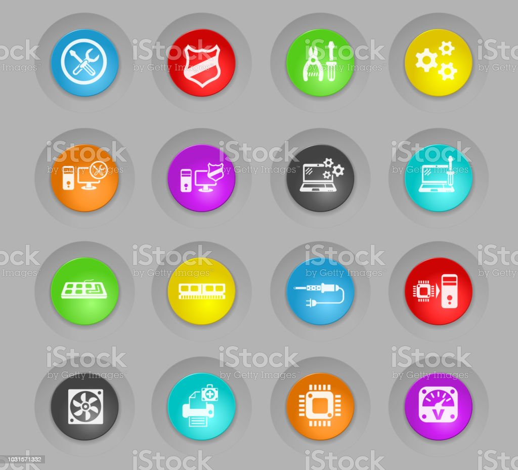computer repair colored plastic round buttons icon set vector art illustration