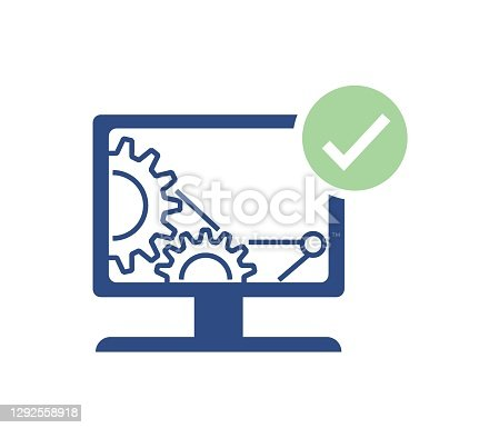 Computer repair design. Software development vector design. Desktop service design.