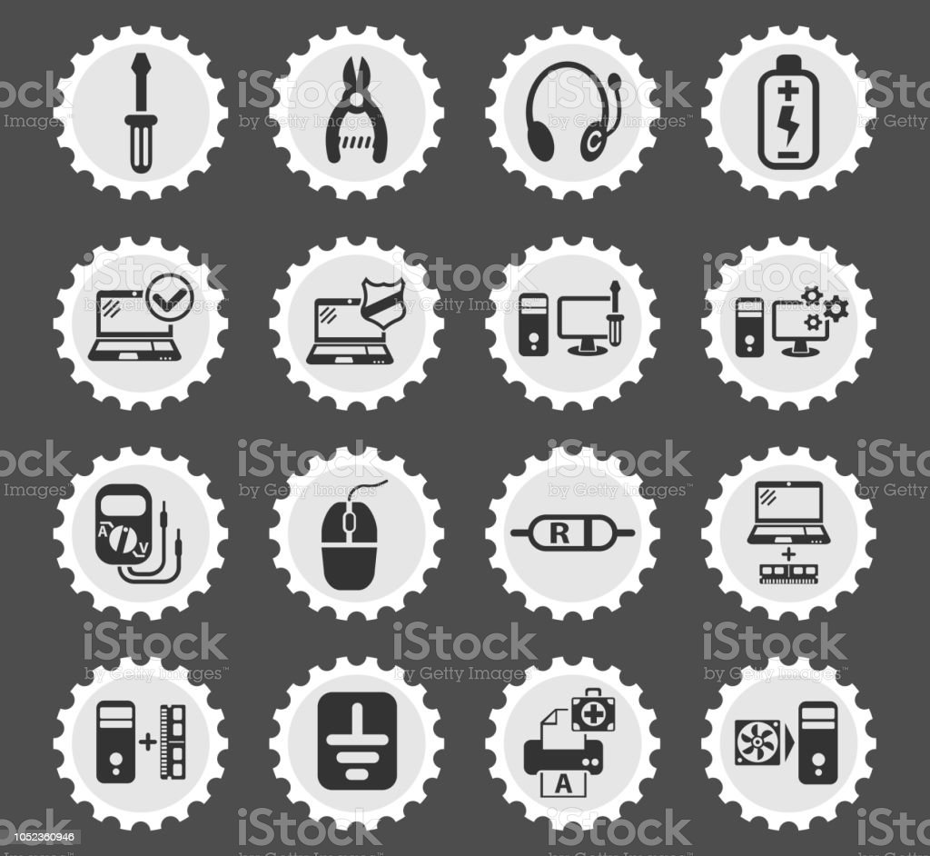 computer repair icon set vector art illustration