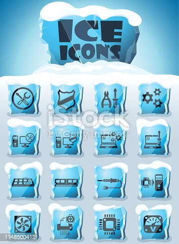 computer repair vector icons frozen in transparent blocks of ice