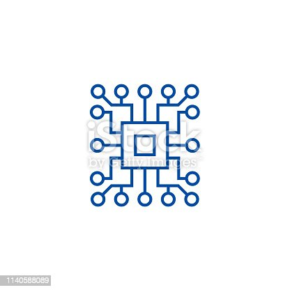 Computer science,circuit line concept icon. Computer science,circuit flat  vector website sign, outline symbol, illustration.