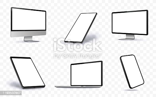 Digital Devices Vector illustration With Perspective Views.  Blank Screen Devices on Transparent Background.