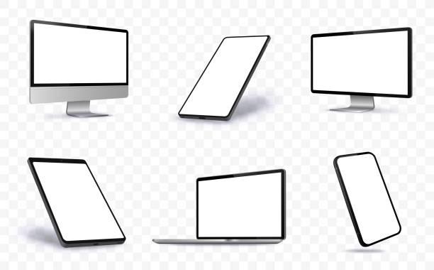 bildbanksillustrationer, clip art samt tecknat material och ikoner med datorskärm, bärbar dator, tablet pc och mobil vektor illustration med perspektivvyer. - laptop