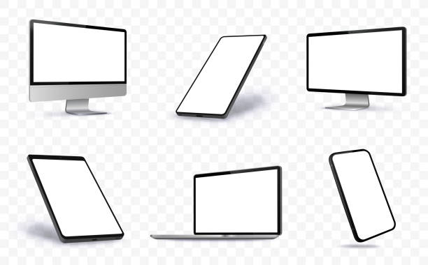 computer screen, laptop, tablet pc and mobile phone vector illustration with perspective views. - лекало stock illustrations