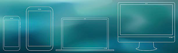stockillustraties, clipart, cartoons en iconen met computer screen, tablet pc, notebook, smart phone - onderweg