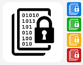 Computer Security Icon. This 100% royalty free vector illustration features the main icon pictured in black inside a white square. The alternative color options in blue, green, yellow and red are on the right of the icon and are arranged in a vertical column.