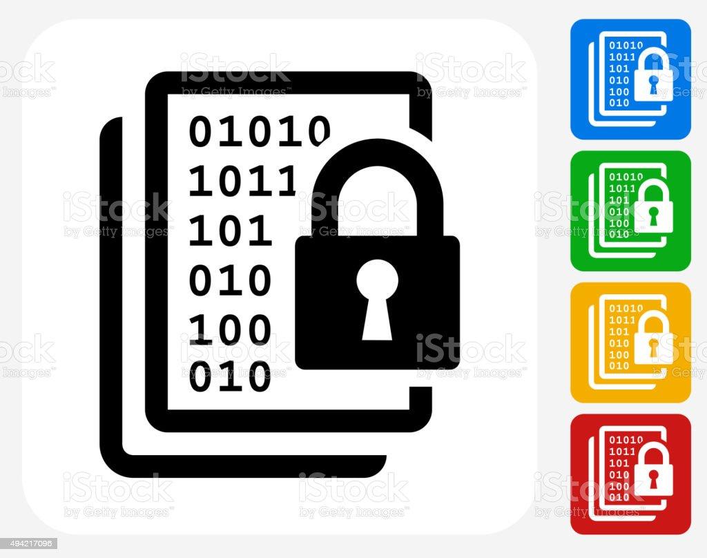 Computer Security Icon Flat Graphic Design vector art illustration