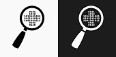 Computer Security Icon on Black and White Vector Backgrounds. This vector illustration includes two variations of the icon one in black on a light background on the left and another version in white on a dark background positioned on the right. The vector icon is simple yet elegant and can be used in a variety of ways including website or mobile application icon. This royalty free image is 100% vector based and all design elements can be scaled to any size.