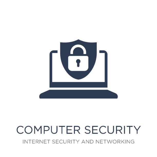컴퓨터 보안 아이콘입니다. 인터넷 보안 및 네트워킹 컬렉션에서 흰색 배경에 유행 평면 벡터 컴퓨터 보안 아이콘 - 보호 stock illustrations