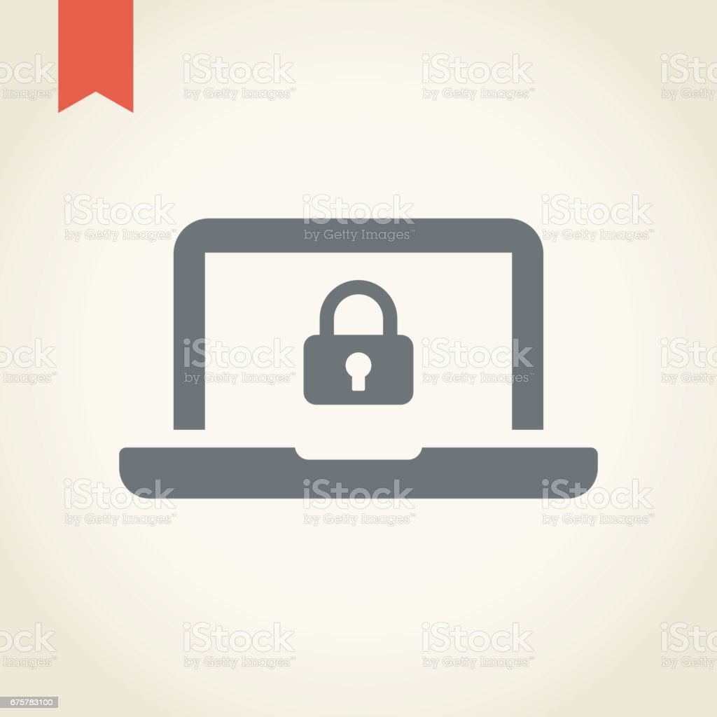 Computer security icon vector art illustration
