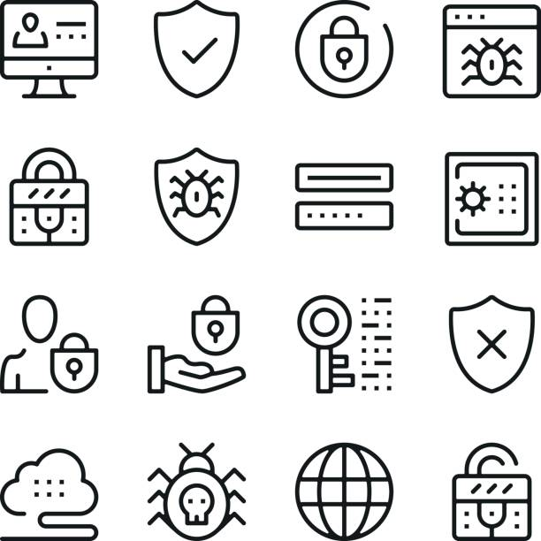 computer security line icons set. modern graphic design concepts, simple outline elements collection. vector line icons - blocks stock illustrations, clip art, cartoons, & icons