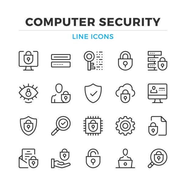 ilustrações de stock, clip art, desenhos animados e ícones de computer security line icons set. modern outline elements, graphic design concepts. stroke, linear style. simple symbols collection. vector line icons - seguros