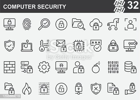 Computer Security Line Icons