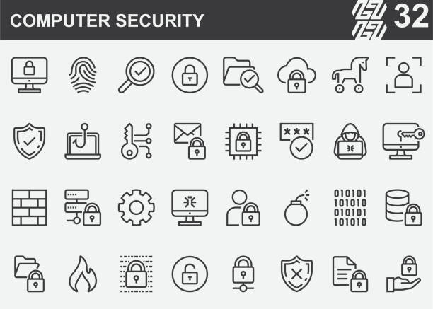 Computer Security Line Icons Computer Security Line Icons encryption stock illustrations