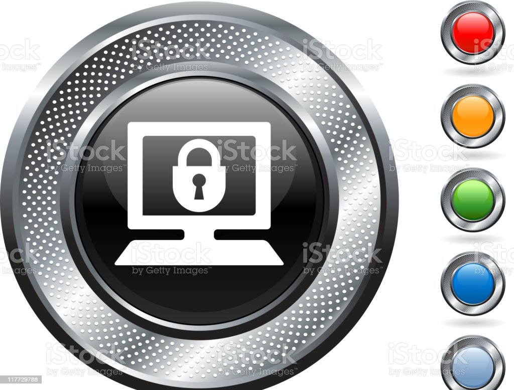 computer security metallic button royalty-free computer security metallic button stock vector art & more images of blank