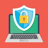 Computer security, protect laptop. Notebook and shield icon with padlock