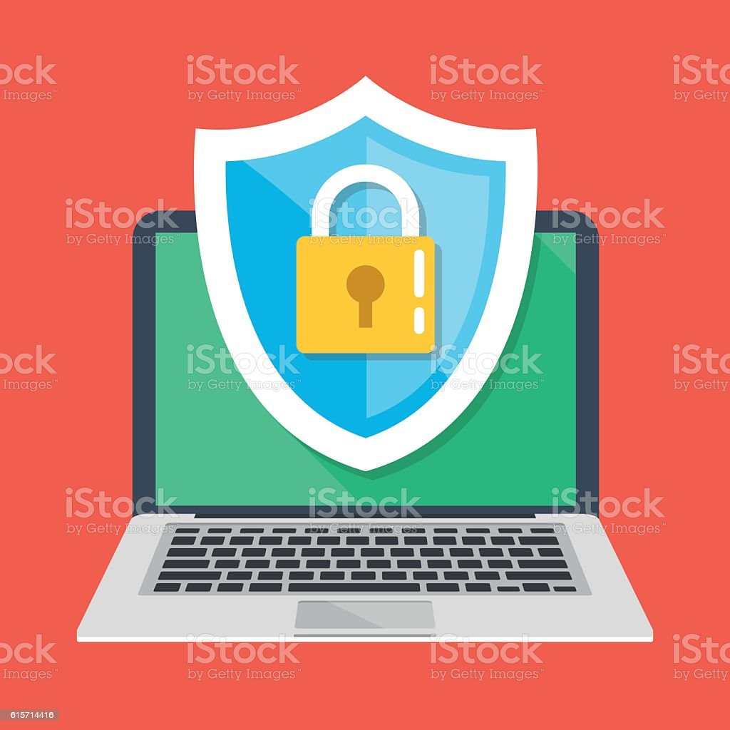 Computer security, protect laptop. Notebook and shield icon with padlock vector art illustration