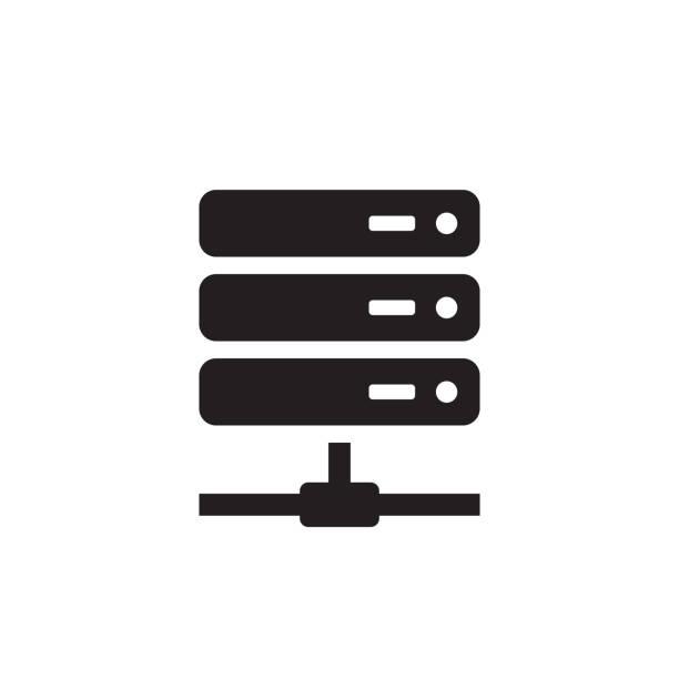 illustrazioni stock, clip art, cartoni animati e icone di tendenza di computer server - black icon on white background vector illustration for website, mobile application, presentation, infographic. internet network technology concept sign design. - organizzatore della festa