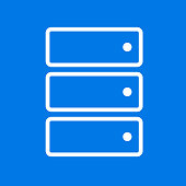 Computer Server Icon. This 100% royalty free vector illustration is featuring the main icon on a flat blue background. The image is square.