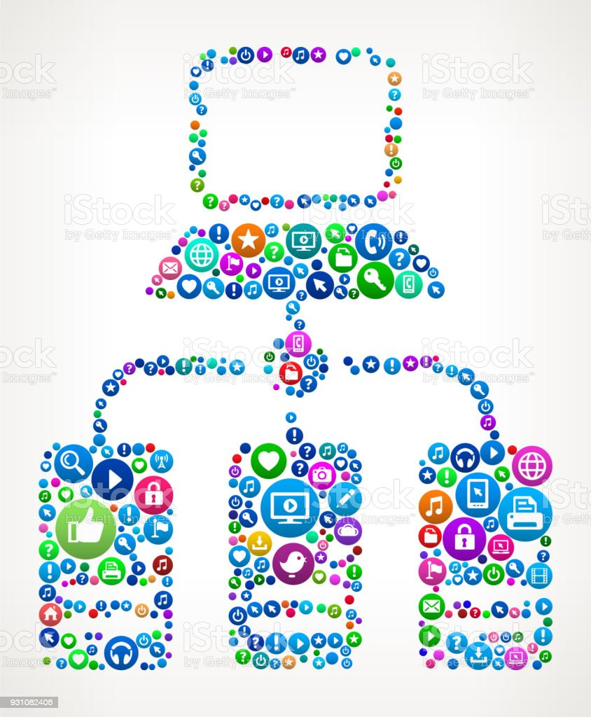 Computer & Server Internet Communication Technology Icon Pattern vector art illustration
