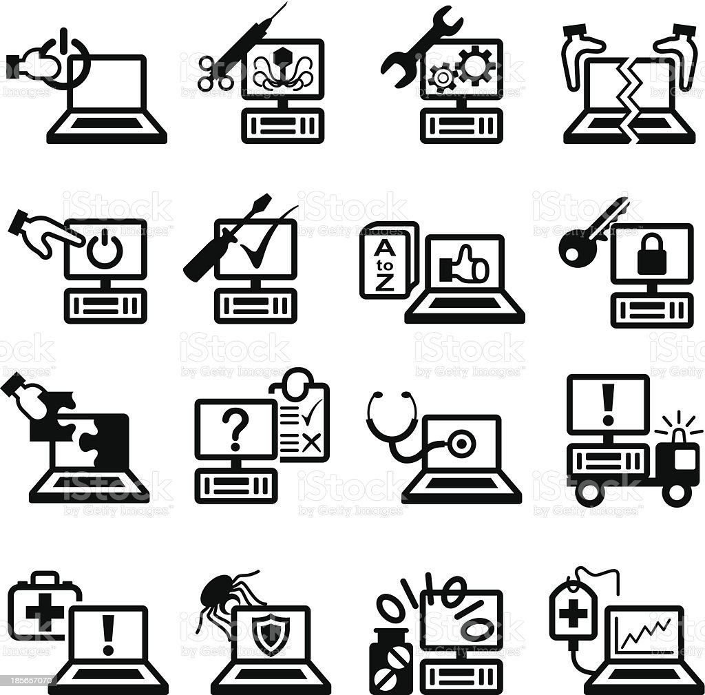 Computer Service and Repair Symbols vector art illustration
