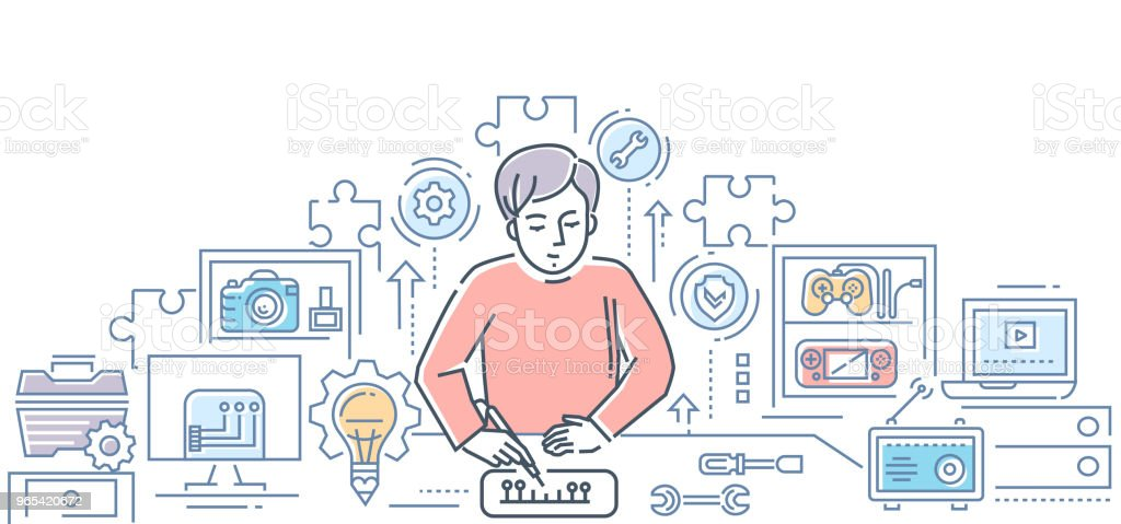 Computer service center - line design style illustration royalty-free computer service center line design style illustration stock vector art & more images of adult