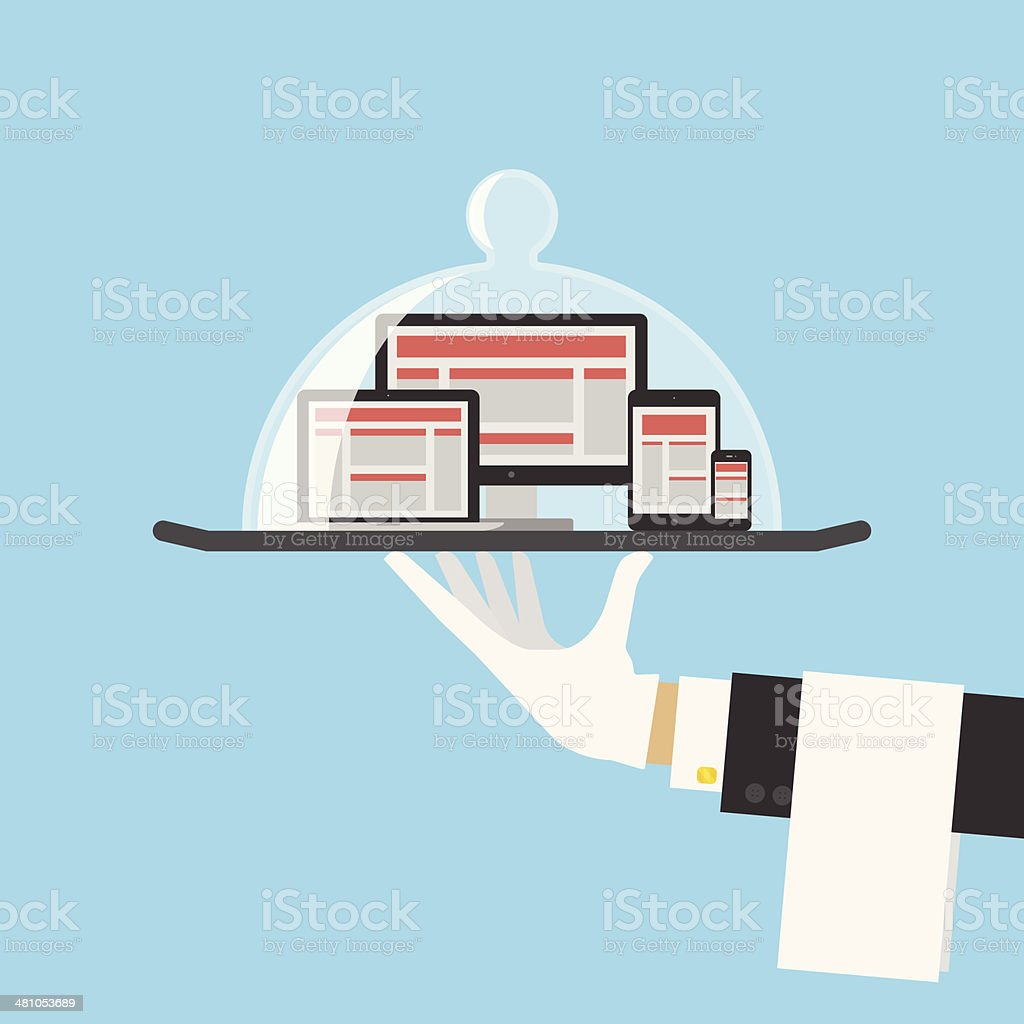 Computer Shop Or Responsive Web Design Service Concept. Vector vector art illustration
