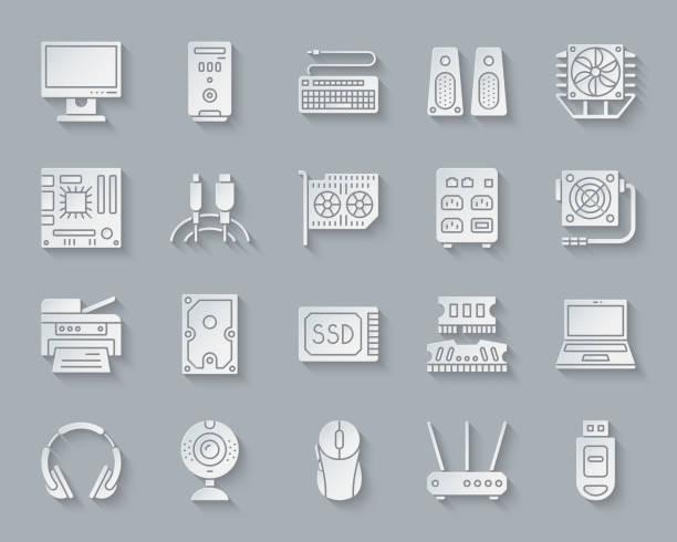 computer scherenschnitt einfache ikonen-vektor-set - kabelskulpturen stock-grafiken, -clipart, -cartoons und -symbole
