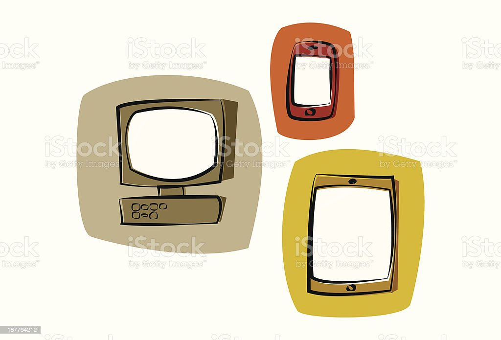 Computer, Smart Phone and Tablet vector art illustration