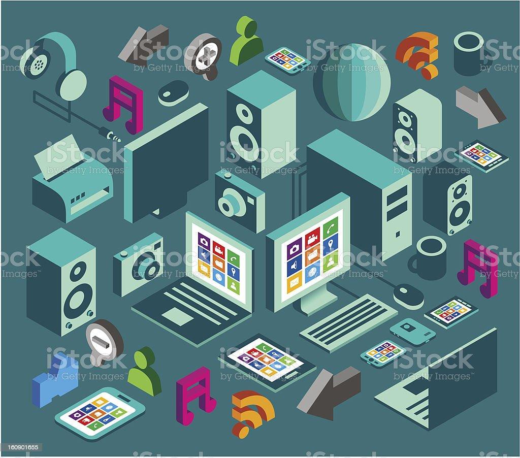 computer social media element set royalty-free stock vector art