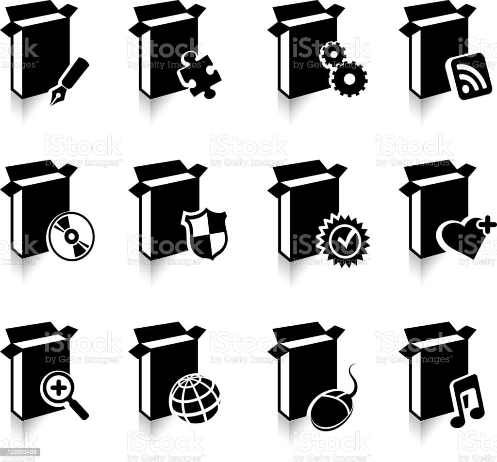Computer Software Black White Royalty Free Vector Icon Set