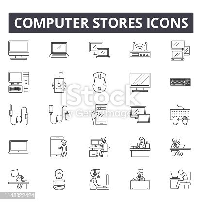 Computer stores line icons, signs, vector set, outline concept, linear illustration